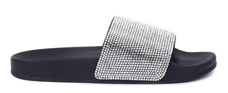 gumowe klapki z cyrkoniami diamonds czarne