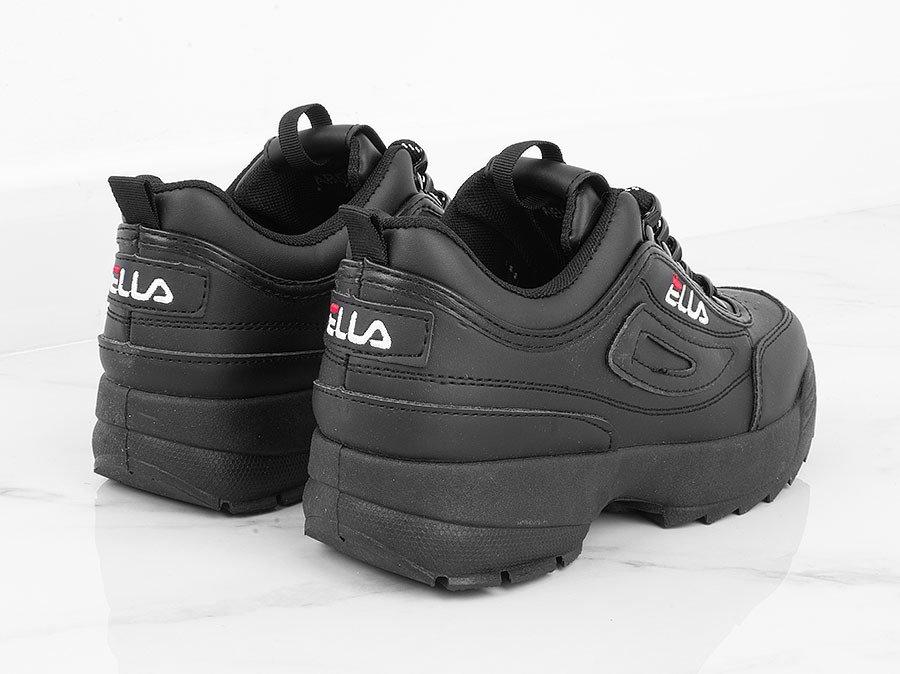 Czarne sznurowane sneakersy na grubej podeszwie
