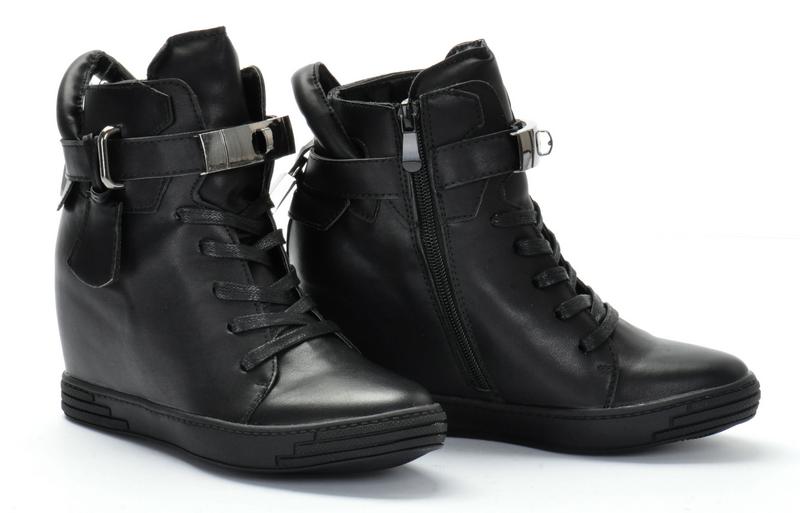 Sneakersy Botki Czarne z Kłódką Skórzane