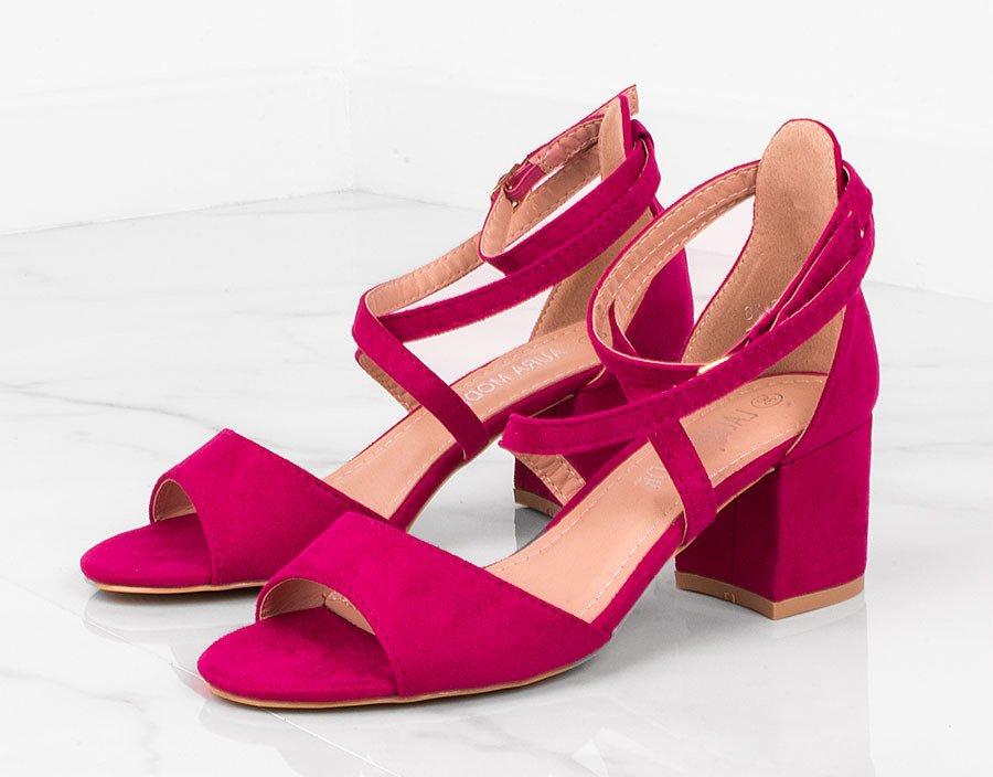Wiązane sandały damskie na obcasie fuksja