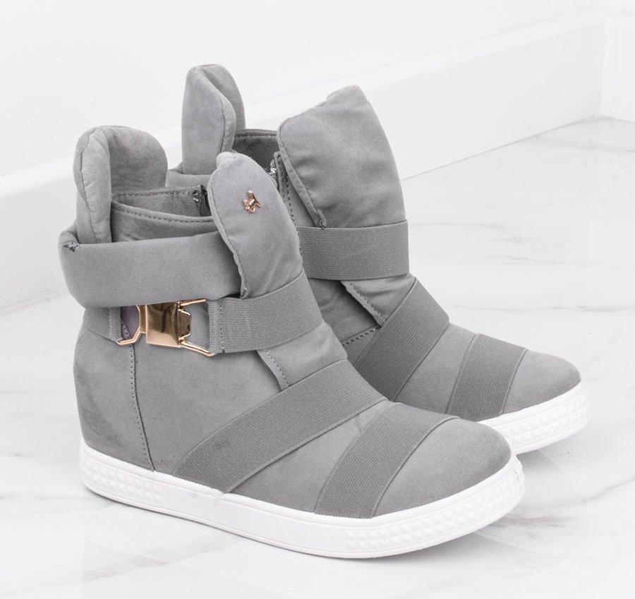 Szare sneakersy na koturnie z ćwiekami Obuwie Szary